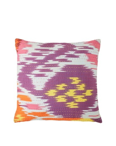 Couleur Nature Ikhat Kantha Pillow, Orange/Yellow