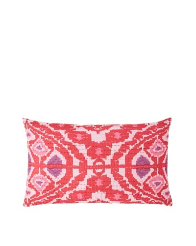 Couleur Nature Ikhat Kantha Pillow, Fuchsia/Ivory