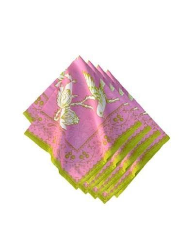 Couleur Nature Set of 4 Sparrow Napkins, Pink/Green