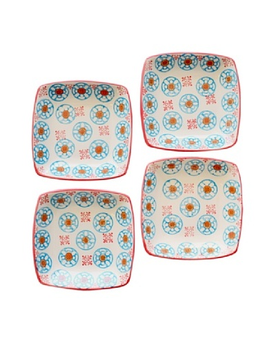Couleur Nature Set of 4 Bleu D'Chine Ceramic Square Plates