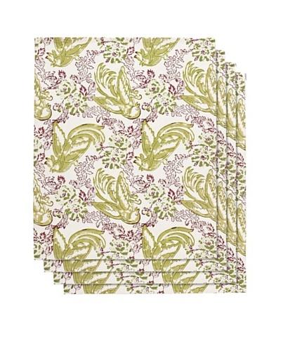Couleur Nature Set of 4 Batik Bird Napkins, Mauve/Green