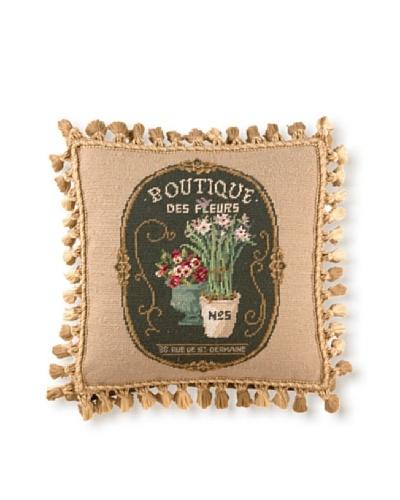 Sally Eckman Roberts Floral Boutique 16 x 16 Needlepoint Pillow