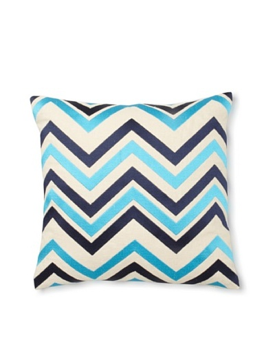 Courtney Cachet Chevron Linen Pillow, Navy/Turquoise, 16 x 16
