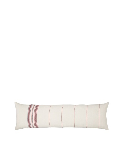 Coyuchi Rustic Linen Pillow, Natural/Red, 14 x 48