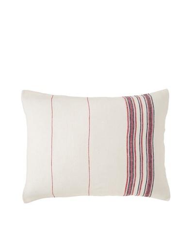 Coyuchi Rustic Linen Pillow Sham, Natural/Red, Standard