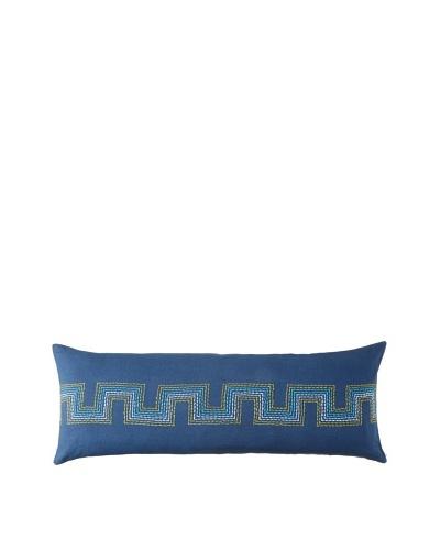 Coyuchi Radiant Roman Key Linen Pillow, Indigo