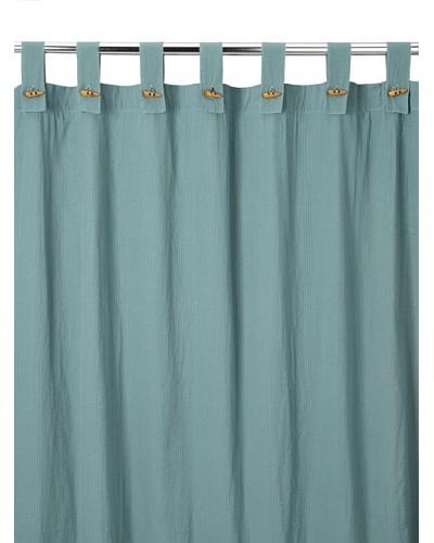 Coyuchi Seersucker Shower Curtain, Dusty Aqua