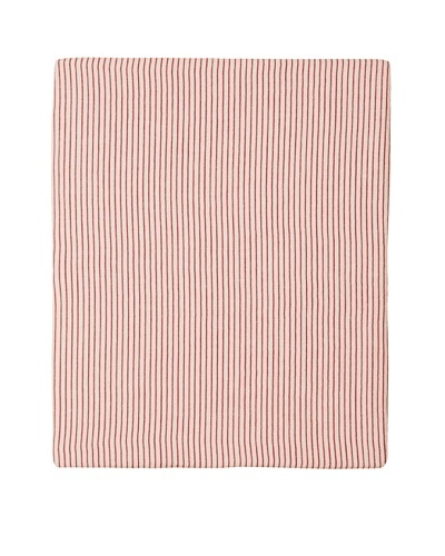 Coyuchi Mini Stripe Cotton/Linen Fitted Sheet [Natural with Brick]