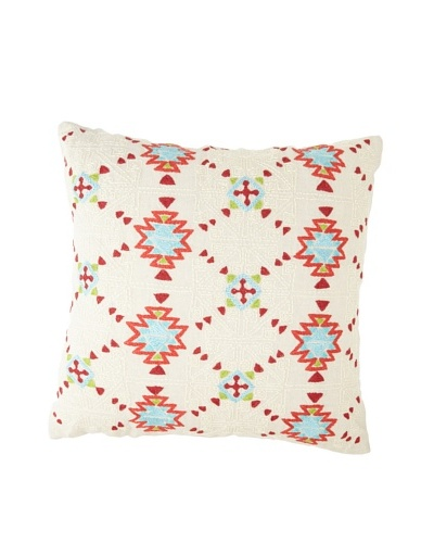 Coyuchi Artisan-Embroidered Linen Pillow, Natural/Multi, 20 x 20