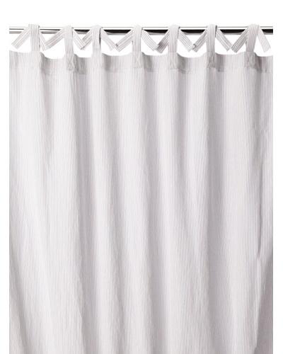 Coyuchi Mini Stripe Cotton/Linen Shower Curtain, Natural with Brick, One Size