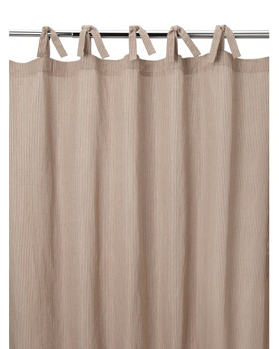 Coyuchi Mini Stripe Cotton/Linen Shower Curtain, Natural with Brick