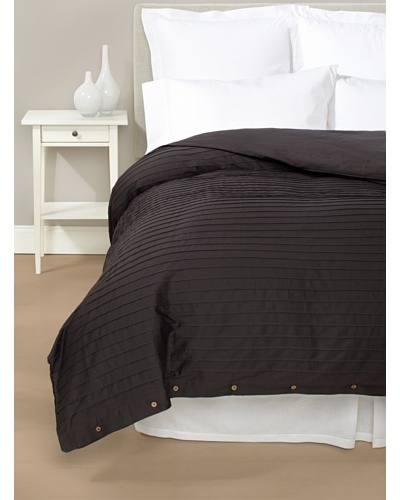 Coyuchi Pleated Sateen Duvet Cover [Almost Black]