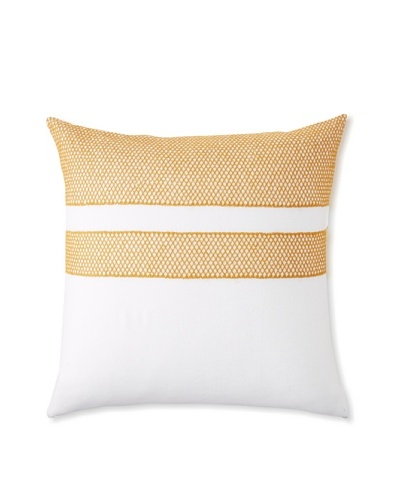 Coyuchi Labyrinth Embroidered Linen Euro Sham, White/Mustard, 26 x 26