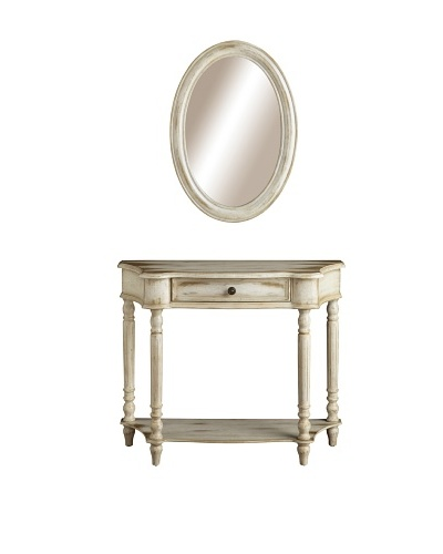 Coast to Coast 1-Drawer Console and Mirror Set with Adjustable Shelf, Coffee/Antique White