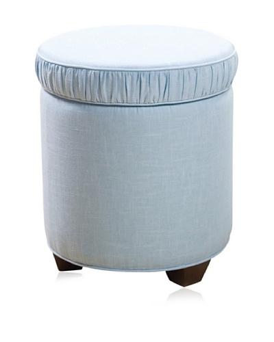 Sandy Wilson Cashmir Round Storage Ottoman, Light Blue