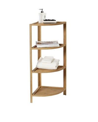 Creative Bath Eco Styles 4-Shelf Corner Tower, Natural/Bamboo