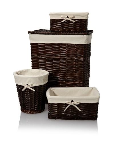 Creative Bath Wickerworks 4-Piece Hamper/Storage Set, Walnut