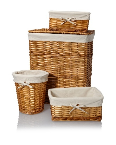Creative Bath Wickerworks 4-Piece Hamper/Storage Set, Honey