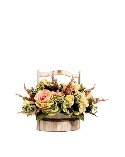 Creative Displays Pink, Green & Cream Hydrangea & Rose Floral in Basket