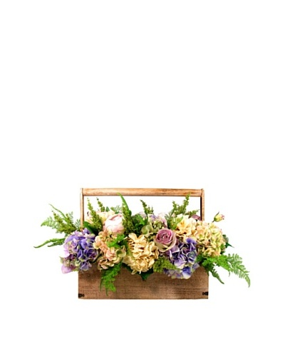 Creative Displays Purple & Cream Hydrangea, Rose & Fern Basket