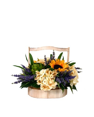 Creative Displays Sunflower, Artichoke & Hydrangea in Wooden Basket