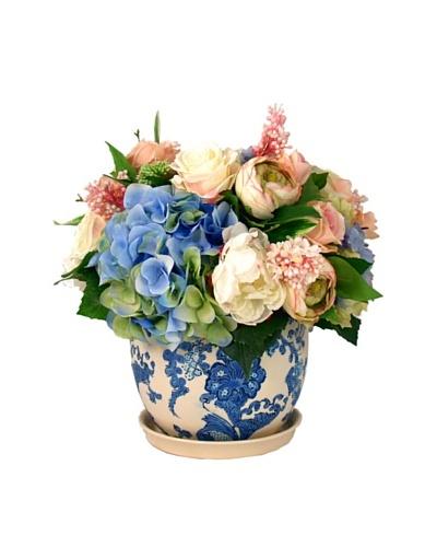 Creative Displays White & Blue Hydrangea in Delft Pot