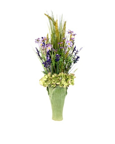 Creative Displays Purple & Green Daisy & Grass Floral in Ceramic