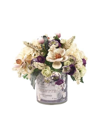 Creative Displays Cream Hydrangea, Magnolias & Purple Ranunculus in Label Pot