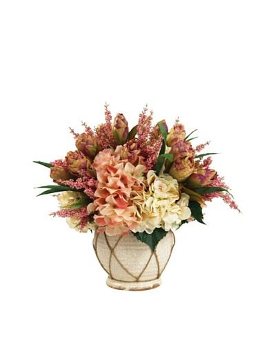 Creative Displays Cream & Pink Peony with Hydrangea in Cream Rope Pot