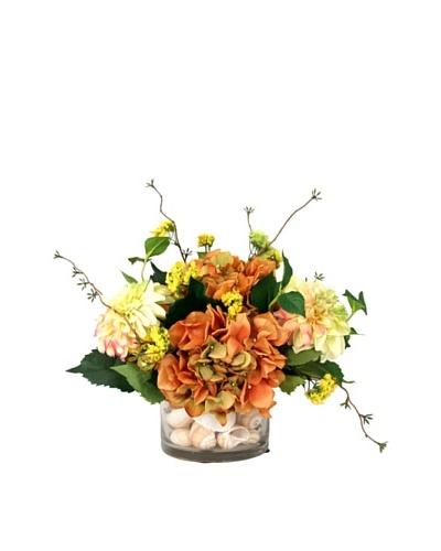 Creative Displays Hydrangea & Dahlia in Shell Glass