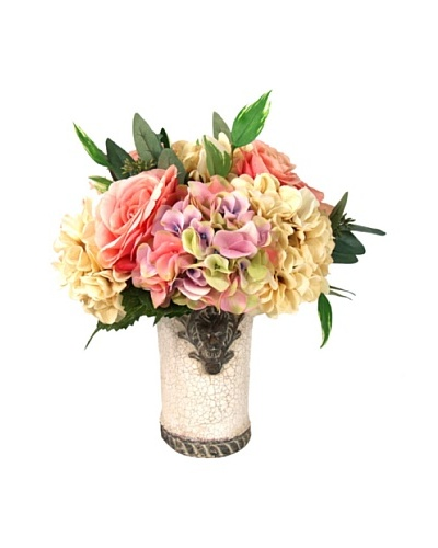 Creative Displays Pink & Cream Rose Floral in Cream Pot