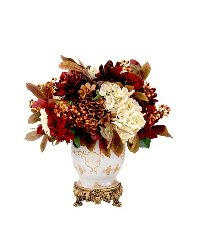 Creative Displays Rust, Burgundy & Cream Hydrangea & Peony in Oriental Vase, 24x30x24