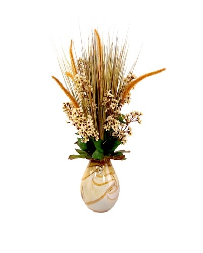 Creative Displays Grass & Cattail Floral In Colored Glass Vase