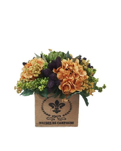Creative Displays Orange Hydrangea Mix in Burlap Box