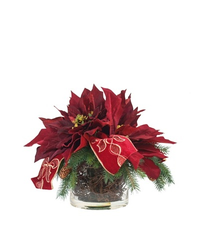 Creative Displays Red Hydrangea & Gold Pine Cone Topiary