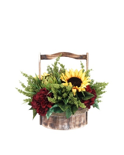 Creative Displays Sunflower & Artichoke in Wooden Basket