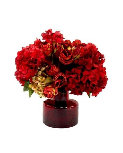 Creative Displays Hops & Hydrangeas in Red Glass