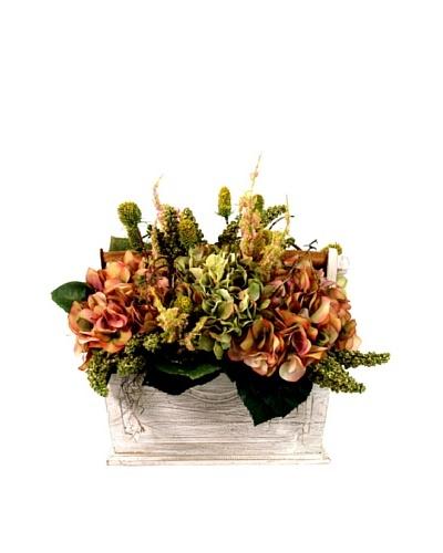 Creative Displays Pink Hydrangea & Green Thistle in White Basket