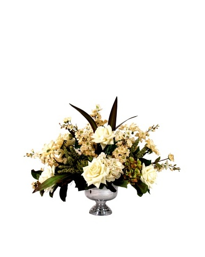 Creative Displays Cream Floral in Silver Vase