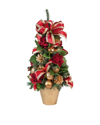 Creative Displays Poinsettia & Pine in Round Glass