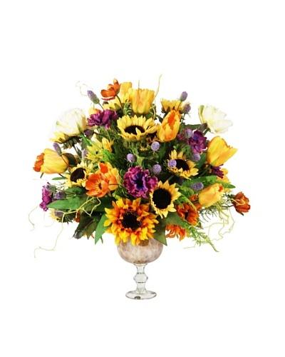 Creative Displays Orange, Yellow, & Purple Sunflower & Tulip Floral in Glass Urn, 30x30x28