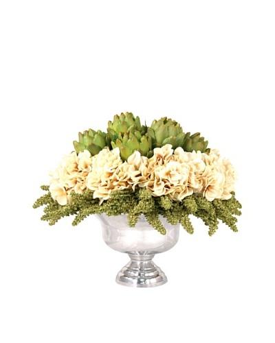 Creative Displays Artichoke & Hydrangea Floral in Silver Vase