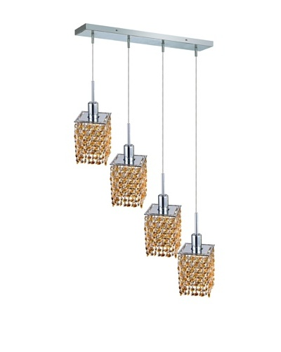 Elegant Lighting Mini Crystal Collection 4-Light Square Pendant Lamp, Light Topaz