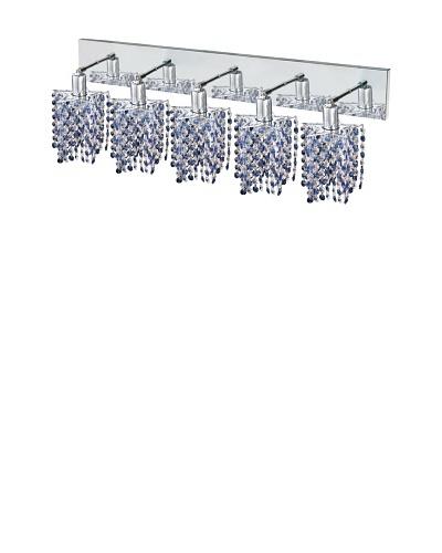 Elegant Lighting Mini Crystal Collection 5-Light Star Wall Sconce, Sapphire