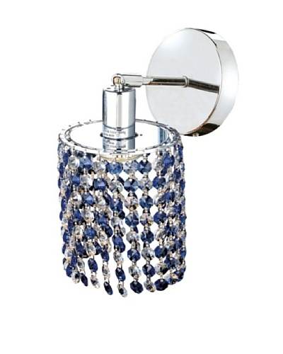 Elegant Lighting Mini Crystal Collection Round Wall Sconce, Sapphire