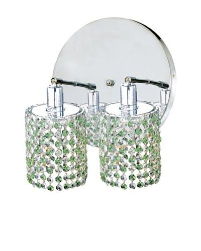Elegant Lighting Mini Crystal Collection 2-Light Round Wall Sconce, Light Peridot
