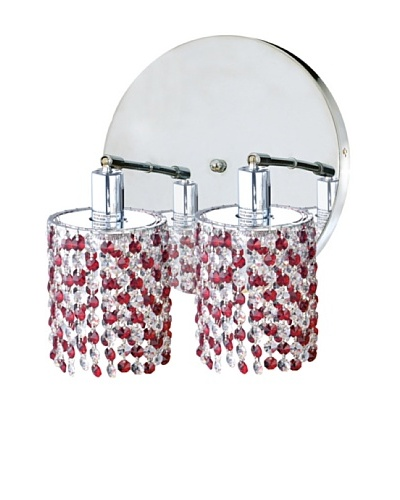 Elegant Lighting Mini Crystal Collection 2-Light Round Wall Sconce, Bordeaux