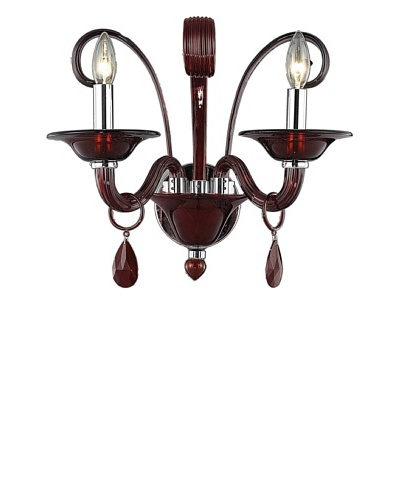 "Crystal Lighting Muse Wall Sconce, Red/Royal Cut Bordeaux (Red) Crystals, Dia 16"" x H 14"""