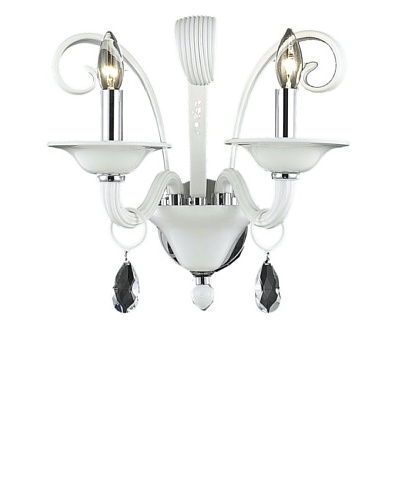 Crystal Lighting Muse Wall Sconce, White/Royal Cut White Crystals, Dia 16 x H 14
