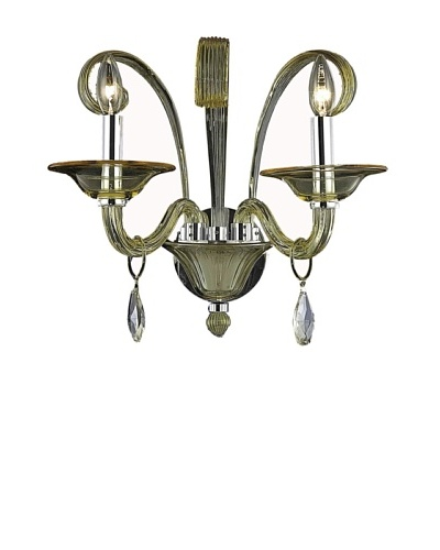 """Crystal Lighting Muse Wall Sconce, Yellow/Royal Cut Golden Shadow (Champagne) Crystals, Dia 16""""..."""